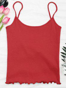 Cut Out Back Ribbed Tank Top - Red