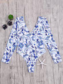 Padded Printed Rashguard One Piece Swimsuit - Blue And White S
