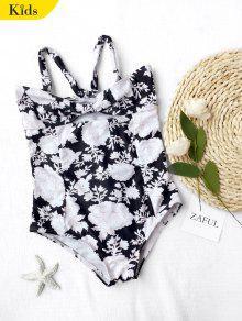 Back Tied Cut Out Floral Kid Swimwear - Black 7t