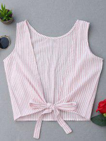 Plunging Neck Striped Tank Top - Pink L