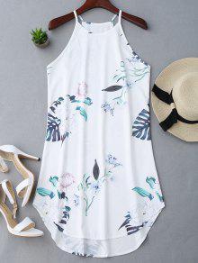 Blumiges Bedrucktes Cami-Kleid - Weiß M