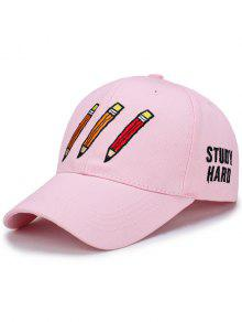 Buy Cartoon Pencil Letters Embroidery Baseball Hat - SHALLOW PINK