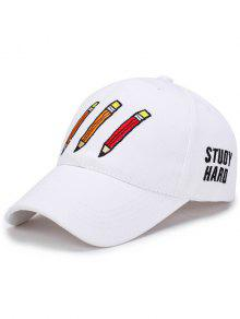 Cartoon Pencil Letters Embroidery Baseball Hat - White