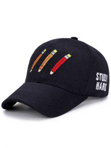 Buy Cartoon Pencil Letters Embroidery Baseball Hat - BLACK