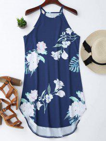 Vestido Con Tirante Fino Con Estampado Floral - Azul Marino  M