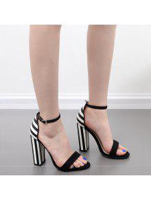 Striped Pattern Two Tone Sandals - Black White 37