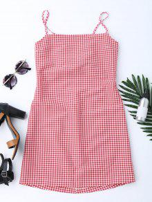 Checked Bowknot Cut Out Mini Dress - Red S