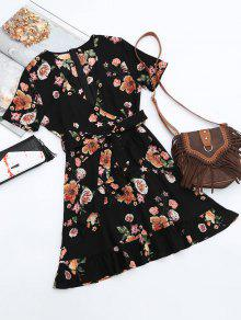 Floral Plunging Neck Ruffles Surplice Dress - Black L