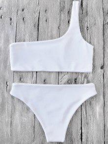 8f8c4dab97 18% OFF] [HOT] 2019 One Shoulder Bikini Set In WHITE | ZAFUL