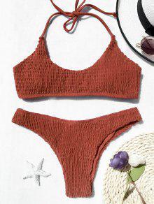 Padded Smocked Bralette Bikini Set - Jacinth S