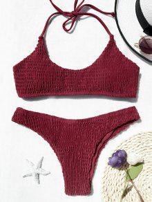 Conjunto De Bikini Bralette Con Falda Acolchada - Rojo M