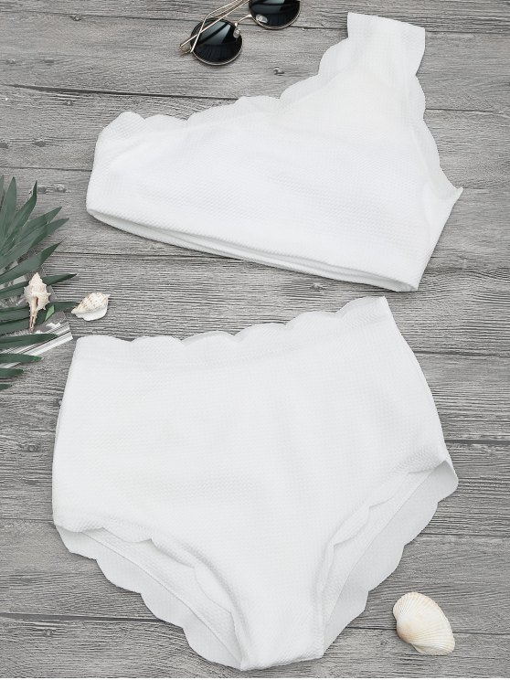 trendy High Waisted Scalloped One Shoulder Bikini - WHITE L