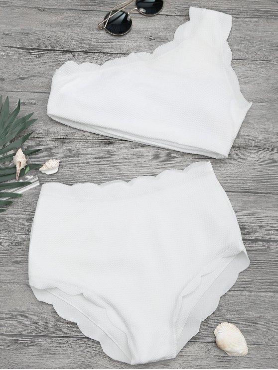 chic High Waisted Scalloped One Shoulder Bikini - WHITE S