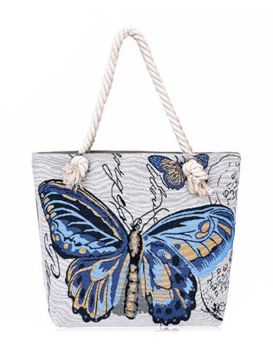 Farfalla tela dipinta Shoulder Bag - Blu