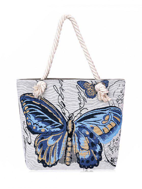 حقيبة الكتف طباعة الفراشة بقماش الكتاني - أزرق