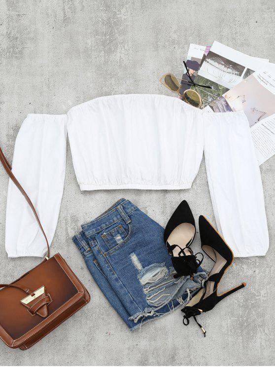 T-shirt Court Col Bardot Ourlet Élastique - Blanc S
