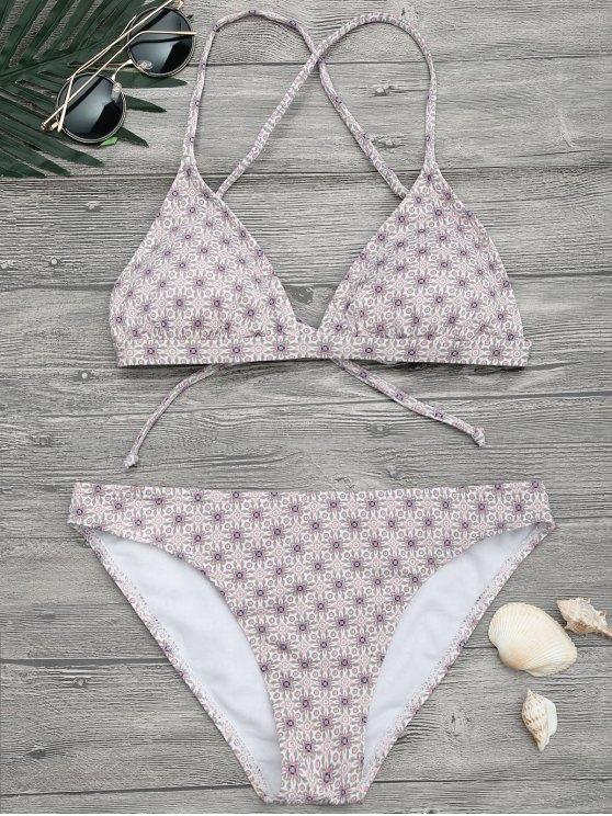 women Padded Printed Strappy Bikini Set - FLORAL S
