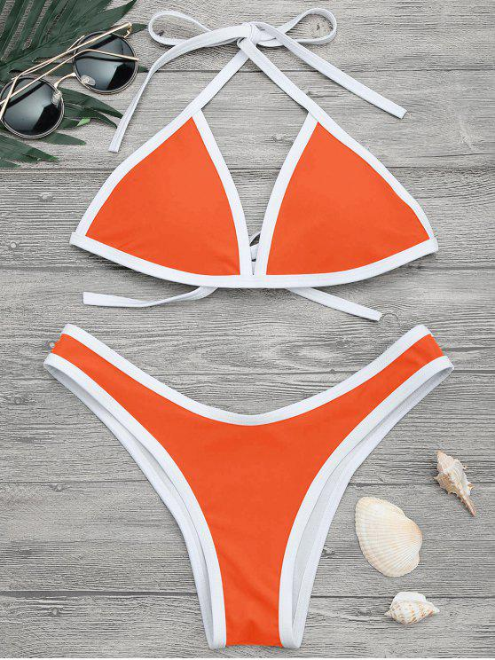 affordable High Cut Contrast Piping Bikini Set - NEON ORANGE S