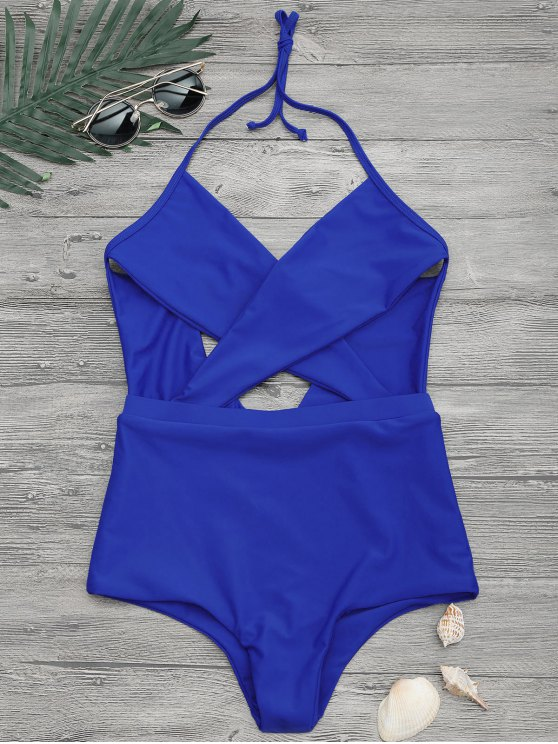 latest Cut Out Cross Front One Piece Swimsuit - BLUE S