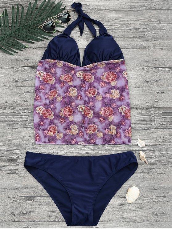 fancy Floral Plus Size Tankini Bathing Suit - FLORAL 2XL