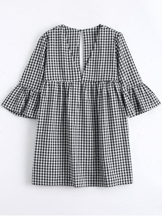 Mini Vestido Recto de Cuadro con Manga Acampanada - Comprobado L