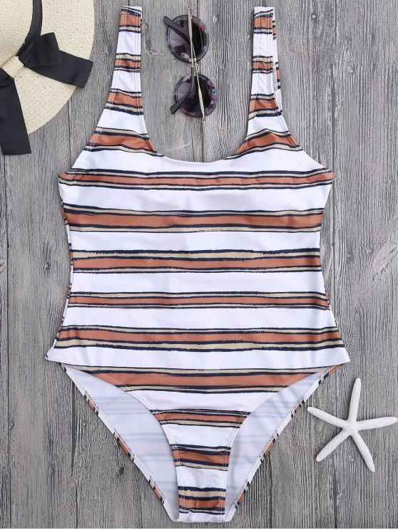 women Striped High Cut One Piece Swimsuit - WHITE AND BROWN M