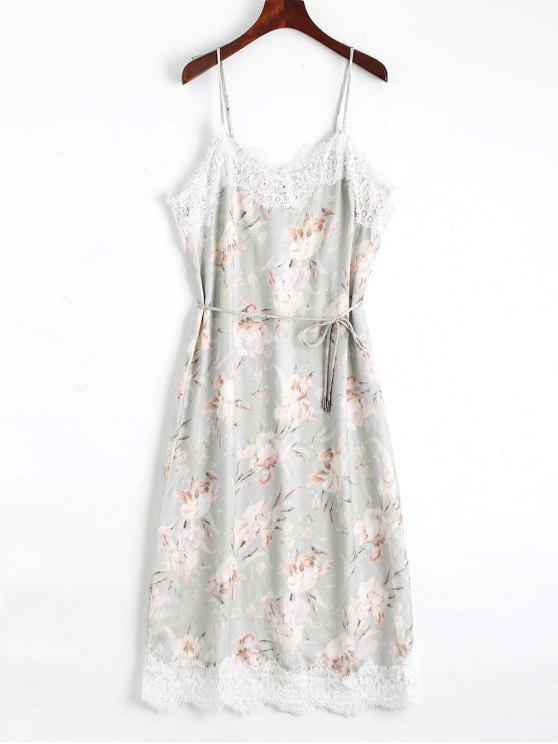 Lace Panel Floral Print Belted Cami Dress - Floral L