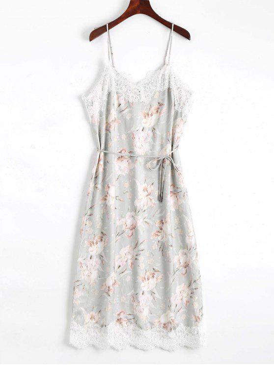 online Lace Panel Floral Print Belted Cami Dress - FLORAL M