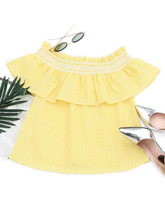 outfit Flounce Off The Shoulder Checked Blouse - YELLOW L