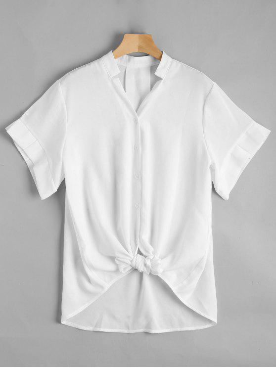 shops V Neck Button Up Longline Blouse - WHITE L