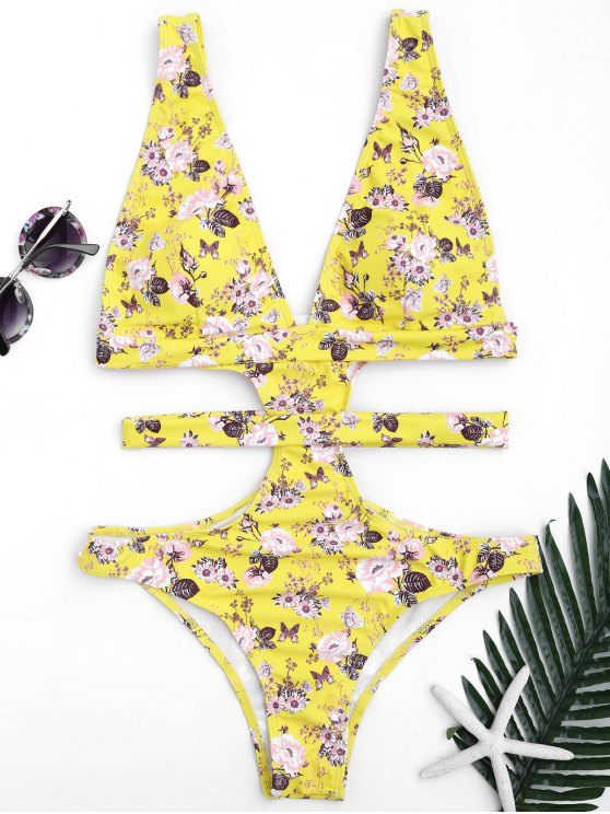 best Plunging Neck Floral High Cut Bandage Swimwear - YELLOW S
