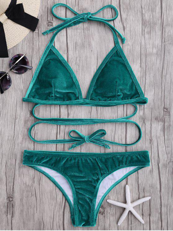 hot Adjustable Tie Velvet Bikini Set - MARINE GREEN M