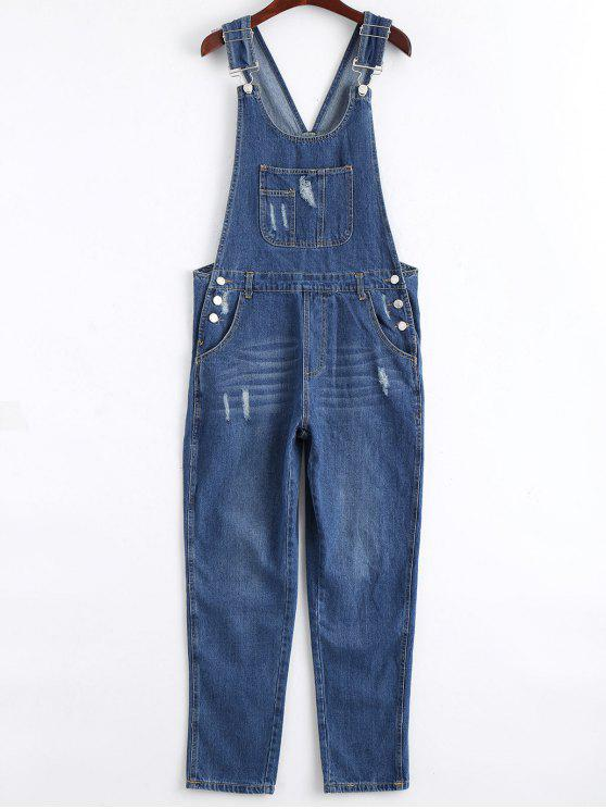 fancy Ripped Pinafore Denim Jumpsuit - DENIM BLUE M