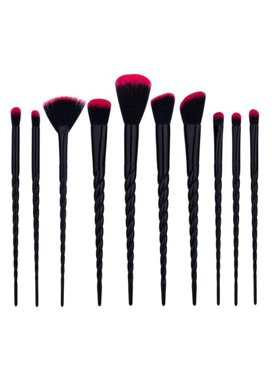 Ensemble de brosses de maquillage à forme conique de 10 pcs - Noir