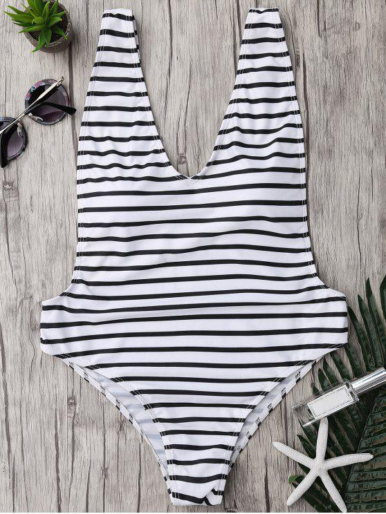 women Plus Size Side Boob Striped Swimsuit - WHITE AND BLACK 5XL