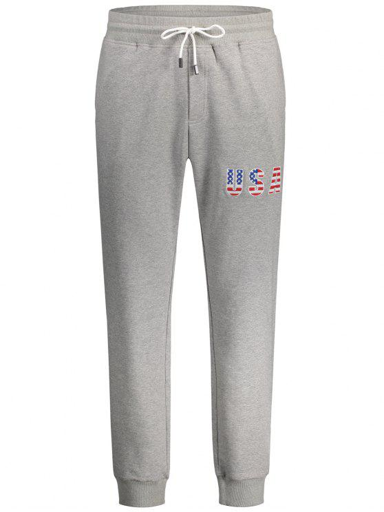 fancy USA Embroidery Drawstring Jogger Pants - LIGHT GRAY L