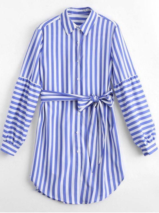 women Longline Belted Striped Shirt - STRIPE M