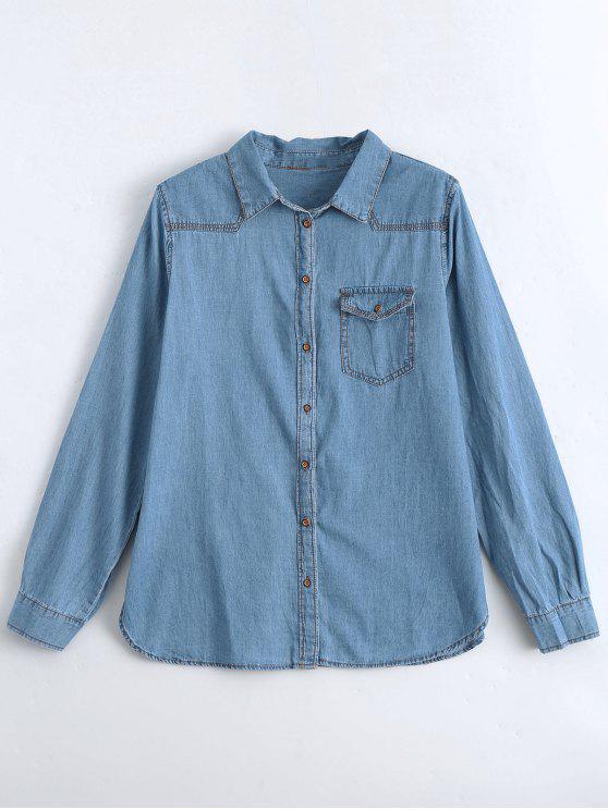 hot Bird Embroidered Denim Shirt with Pocket - DENIM BLUE S