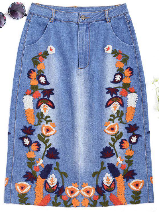 Falda bordada floral del dril de algodón de Midi - Denim Blue S