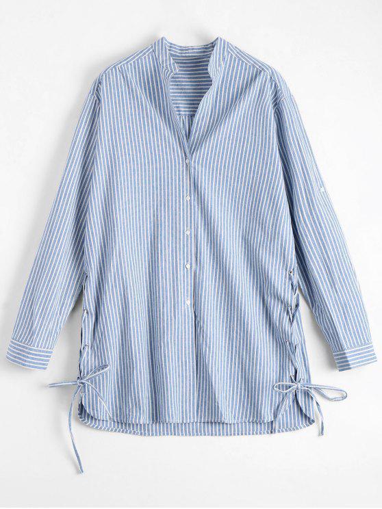 fashion Lace Up Button Up Striped Blouse - LIGHT BLUE L