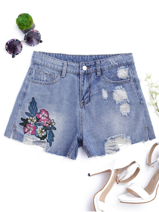 sale Floral Embroidered Destroyed Cutoffs Denim Shorts - DENIM BLUE L