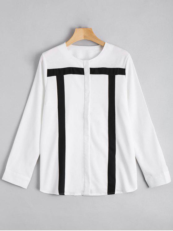 Botón de contraste de manga larga blusa - Blanco 2XL