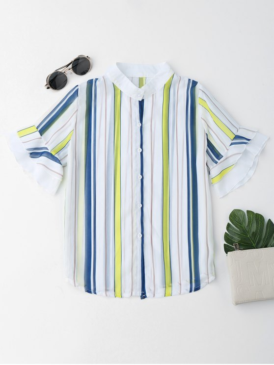 online Stripes Flare Sleeve See Thru Shirt - STRIPE ONE SIZE