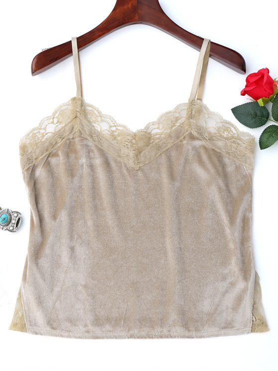 latest Lace Panel Side Slit Cami Top - YELLOWISH PINK XL