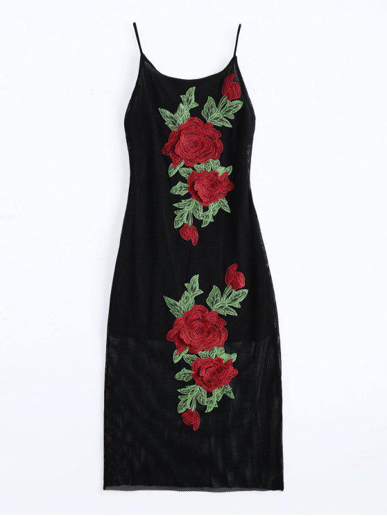 Vestido de camuflaje floral con remaches - Negro L
