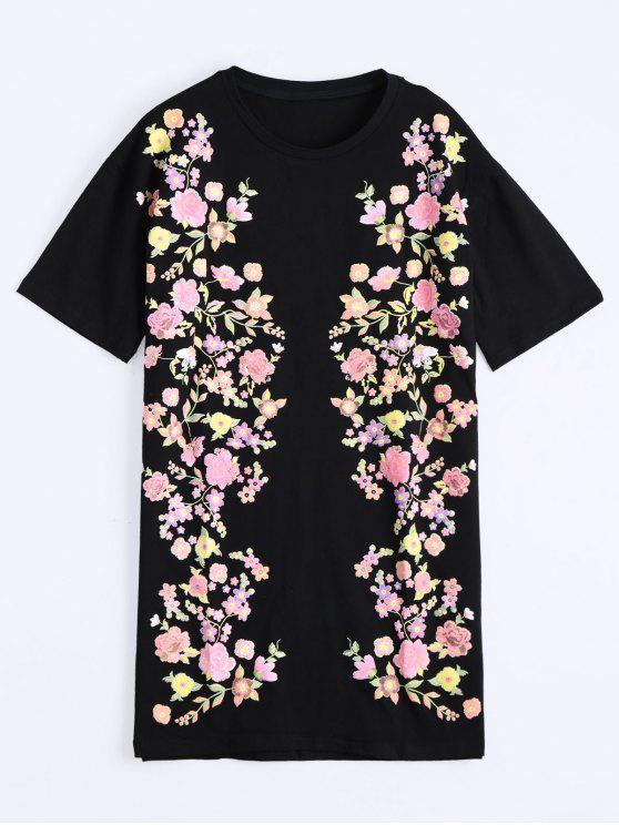 فستان مستقيم انخفاض الكتف طباعة الأزهار - أسود S