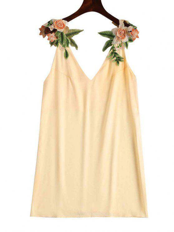 Vestido Recto con Parche Floral - Champán S