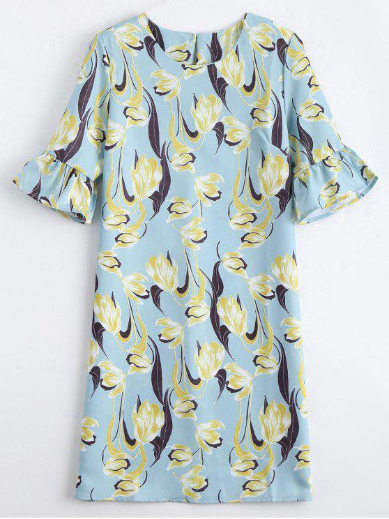 trendy Flare Sleeve Flower Shift Dress - FLORAL S