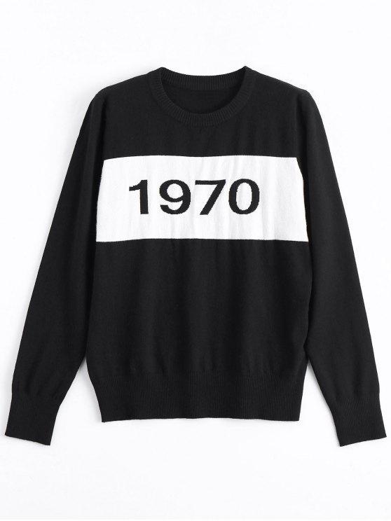 Suéter con estampado de números Constrasting - Negro S