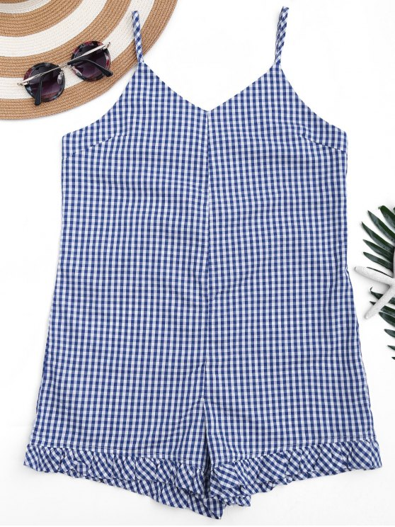 best Lace Up Checked Cami Cover Up Romper - PLAID L